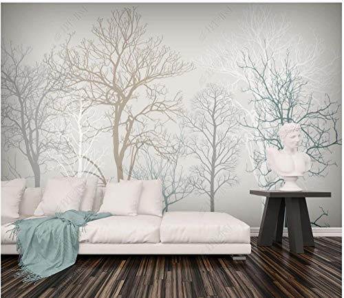 Fototapete Vliestapete 3D Moderne Minimalistische Kreativität Des Retro-Waldes Fototapete 3D Effekt Tapeten Wanddeko Wandbilder Schlafzimmer 350x245cm