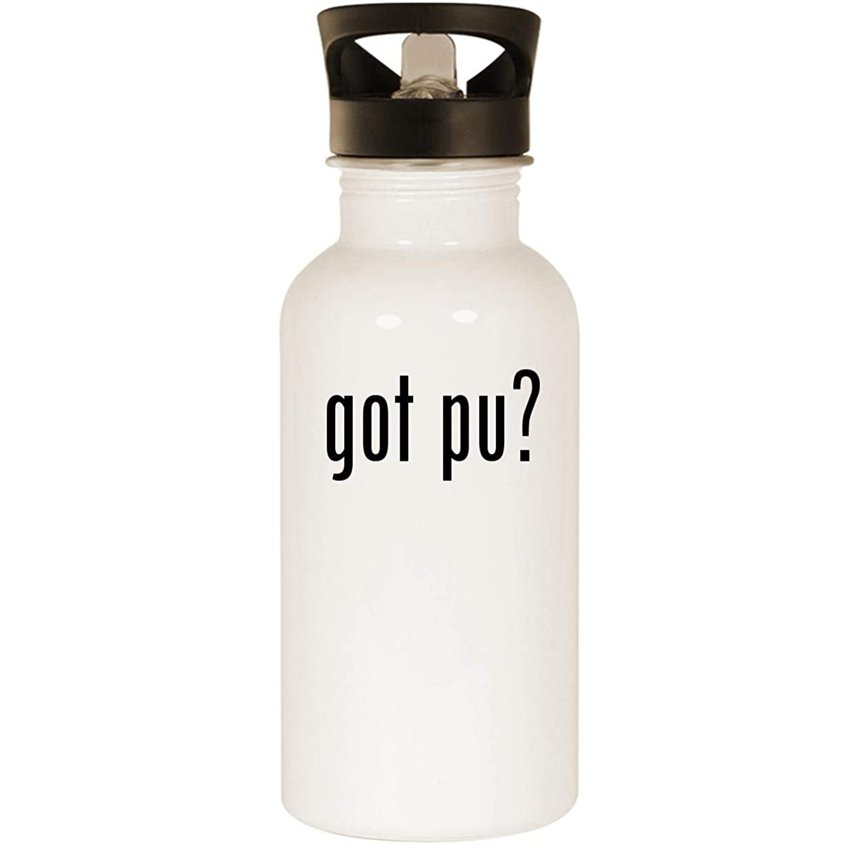 got Pu? - Stainless Steel 20oz Road Ready Water Bottle, White