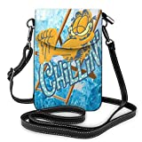 Cool and Cuet in Summer Garfield - Bolso bandolera de piel para teléfono celular con ranuras para tarjetas de crédito para mujeres