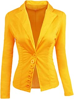 Macondoo Women's Juniors Coat Slim Notched Lapel Button Blazer Jackets