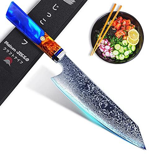 JIKKO® Damast Küchenmesser 33cm Kiritsuke Messer - Profi Messer High-End - Japanisches Messer mit Einer Starken und Ultrascharfen Klinge HRC60 zugelassen