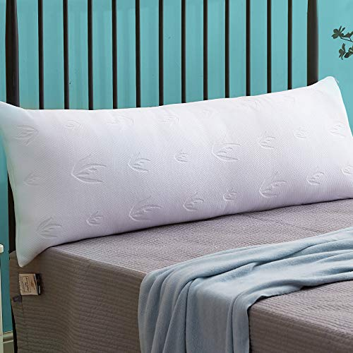 Decroom Full Body Pillow with Pillowcase, Large Body Pillow for Adults, Removable Bamboo Cover and Microfiber Filling, Support and Comfort for Stomach and Side Sleepers-20 x 54 inch