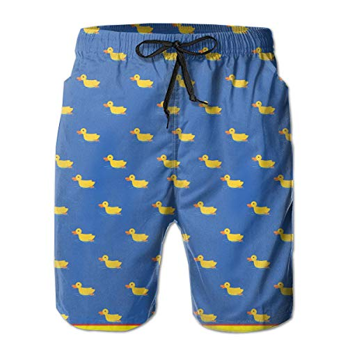 akingstore Casual Mens Cute Duck Lustige kleine Ente Badehose Quick Dry Printed Beach Shorts Sommer Boardshorts mit Mesh-Futter
