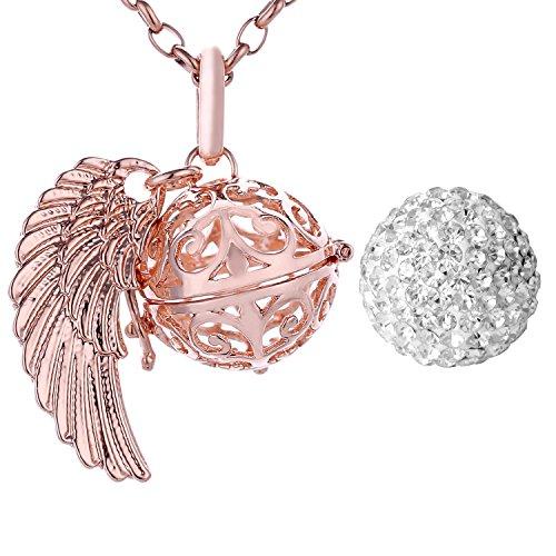Morella Damen Halskette roségold Edelstahl 70 cm mit roségoldenem Anhänger Engelsflügel und Klangkugel Zirkonia weiß Ø 16 mm in Schmuckbeutel