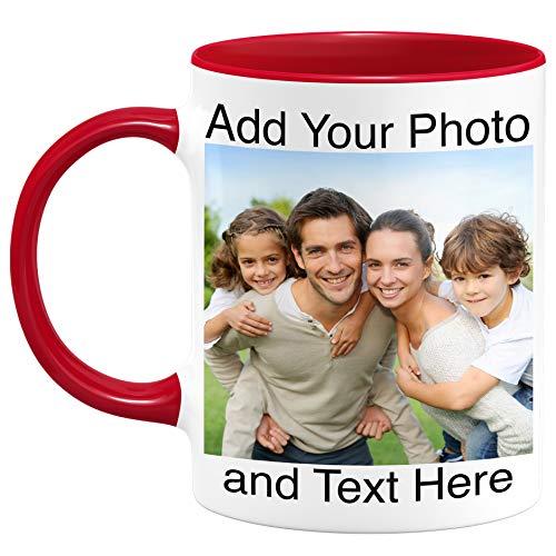 Custom Photo Coffee Mugs - Personalized Coffee Mugs with Photo and Text, Customized Ceramic Coffee Mug - Customizable Mug, Funny Mug, Personalized Gifts, Custom Mug with Photo and Text - 11oz Red