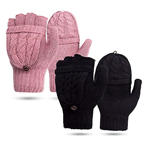JORYEE Fingerlose Handschuhe - Winter Fäustlinge Winterhandschuhe Fingerlose Halb Fingerhandschuhe Wolle Strick Handschuhe (Schwarz+Rosa)