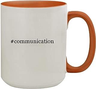 #communication - 15oz Hashtag Colored Inner & Handle Ceramic Coffee Mug, Orange