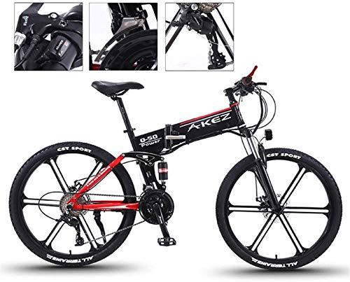 Bicicleta eléctrica de nieve, 26 '' Bicicleta eléctrica plegable de la bicicleta plegable y plegable de la bicicleta eléctrica de ebike para adultos 21 velocidades y tres modos de trabajo para viajar