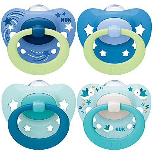 NUK chupetes para bebés noche y día | 0-6 meses | Chupetes que brillan en la oscuridad | Silicona sin BPA | Azul | 4 unidades