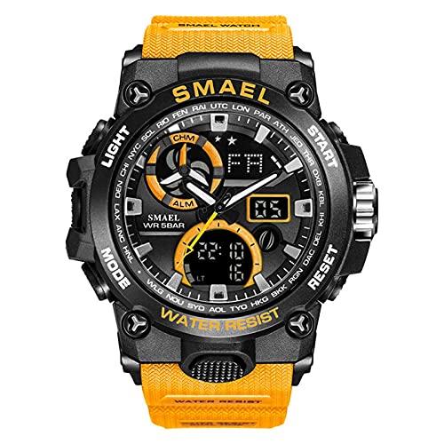 JTTM Relojes Deportivos para Hombre Pantalla LED De Moda Militar Relojes Hombres Casual Digital Relojes,Black Orange