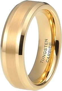 iTungsten 6mm 8mm Silver/Black/18K Gold/Rose Gold/Gunmetal Tungsten Rings for Men Women Wedding Bands Beveled Edges Matte Polished Finish Comfort Fit