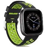 Onedream Compatible para Fitbit Versa/Versa Lite/Versa 2 Correa Hombre Mujer, Silicona Reemplazo Deportivo Compatible para Fitbit Versa/Versa 2/ Versa Lite/Versa Edición Especial Negro-Lima
