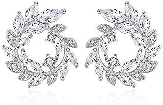 NEVI Flower Round AAA Zirconia Champaign Gold Stylish Studs Earrings For Women Girls