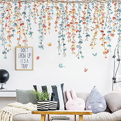 YXHZVON Pegatinas pared Decorativas Dormitorio, Vinilos de Papel Pintado Hojas ( W x H ) 118 x 48 cm, Vinilos Ventanas Plantas pared Salón Dormitorio Oficina