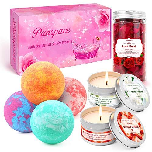 Panspace Badebomben Geschenkset für Frauen, 4 Bio-Badebomben mit 2 Duftkerzen und 1 getrockneten Rosenblättern, Bubble Fizzies Spa Badebomben-Kit für Frauen Mädchen Geburtstag Jubiläumsgeschenke