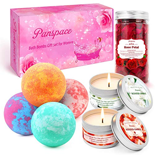 Panspace Bath Bombs Gift Set for Women, 4 Organic Bath Bombs with 2 Scented Candles & 1 Dried Rose Petals, Bubble Fizzies Spa Bath bomb Kit for Women Girls Birthday Valentines Anniversary