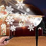 LED Projektionslampe, Schneeflocken Schneefall Effektlicht mit Fernbedienung Timer, Weihnachtsbeleuchtung Außen Innen, Projektor Lampe Weihnachten IP65 Wasserdicht Weihnachtsdeko für Garten - 3