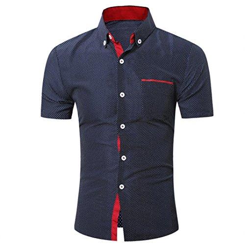 Yvelands Camisa de Solapa de Mezcla de algodón Hombres Cami