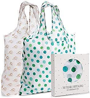 Momiji Reusable Grocery Shopping Bags, Polyester, Set of 2, with Handles - Large, Foldable Tote Bag Sets for Carrying Groceries - Eco-Friendly, Machine Washable, Lightweight - Cute, Totes, Gift Box