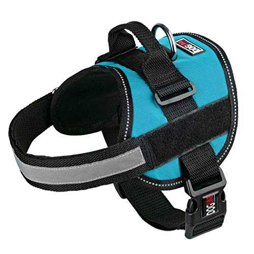 Dog Harness, Reflective No-Pull Adjustable Vest with Handle for Walking, Training, Service Breathable No - Choke Harness for Small, Medium or Large Dogs Room for Patches Girth 36 to 46 in Turquoise