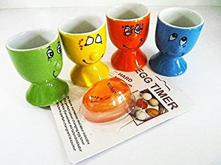 Preisvergleich für KI 4er Set Eierbecher funny face Porzellan mit Egg Timer
