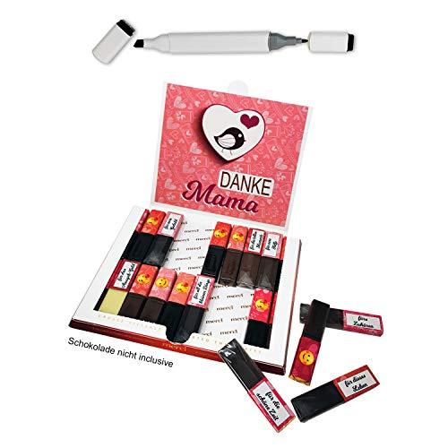 Aufkleber Set für Merci Schokolade 250g + permanent Marker - Das persönliche Geschenk für Mama/Papa | ohne Schokolade