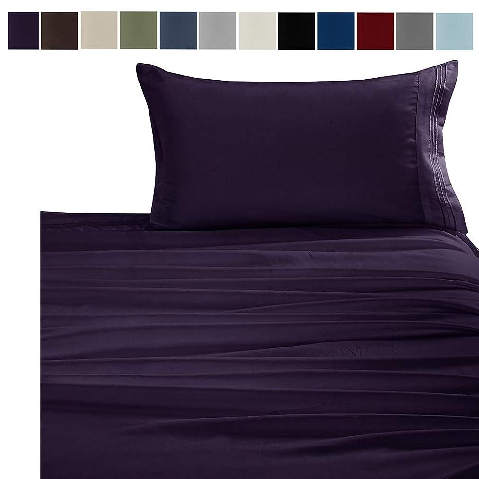 概要船乗り神学校YiyiLai シンプル ボックスシーツ フラットシーツ 枕カバー セット 寝具 ベットカバー 刺繍 パープル ダブル(4点セット)M