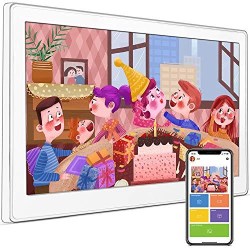 10,1 Zoll Digitaler Bilderrahmen 16:10 HD IPS Display Bilderrahmen Touchscreen LED Bildschirm WLAN Kalender Uhr Wecker Digital Video Und Fotos Sofort Per E-Mail Oder App Teilen(Weiß)