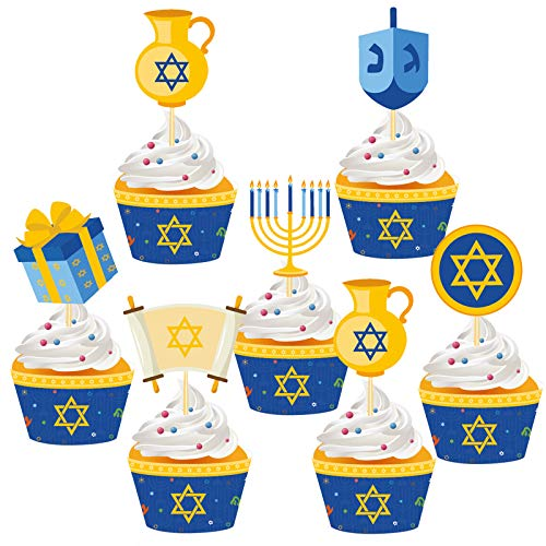 48Pcs Hanukkah Party Cupcake Toppers and Wrappers - Holiday Christmas Chanukah Birthday Party Decorations Supplies Favors