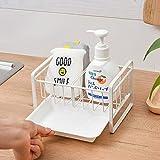 Qisiewell Organizador para fregadero con bandeja de goteo y separador para la cocina, soporte para utensilios de cocina, acero inoxidable, color blanco