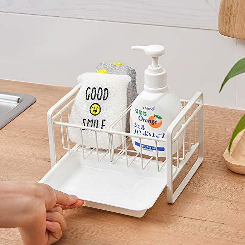 Qisiewell Spülbecken Organizer mit Abtropfschale und Trennwand für die Küche Caddy Ordnungshelfer Küchenutensilienhalter Rostfreier Edelstahl Weiß