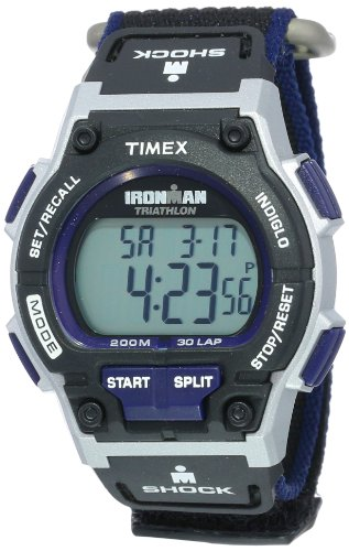 Timex Men's T5K198 Ironman Endure 30 Shock Full-Size Black/Silver-Tone/Blue Fast Wrap Watch