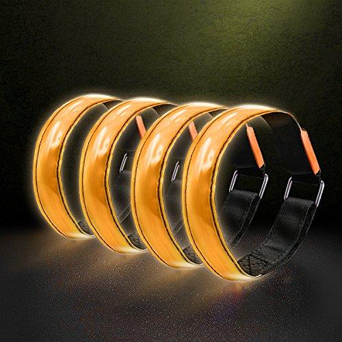 Kailian ® 4 x LED Fahrradlampe Wristband Licht Blinklicht joggen Au?en Schulweg Kinder Fahrrad Hundehalsband-Orange-4PCS