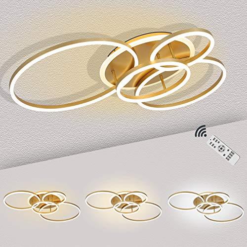 Ringförmige LED-Deckenlampe in Gold, 5-flammige Runde Deckenleuchte Dimmbar mit Fernbedienung, Moderne Designte Wohnzimmer-Lampe Dekor, Metall & Acryl-Lampenschirm, 80 Watt, 3000 Lumen