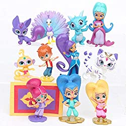 Shimmer and Shine Figure Playset 12pcs Cake Toppers Party Supplies Birthday Decorations Genies Shimmer, Christmas, birthday,Cupcake Topper, Cake Toppers, Cake Decoration