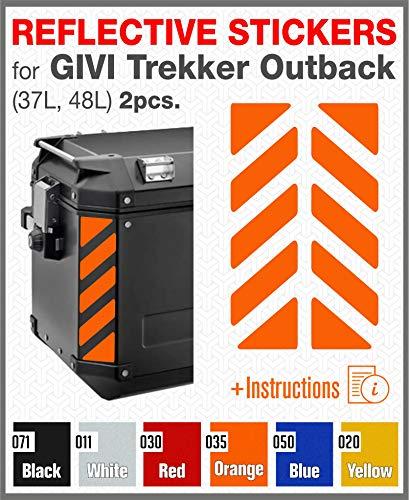 2pcs Adhesivos Reflectantes para GIVI Trekker Outback 37L 48L (Orange)