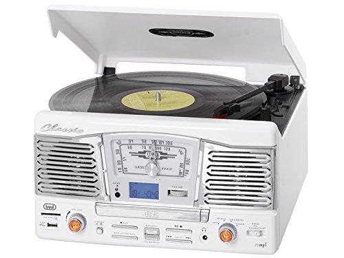 Trevi TT 1065 E - Tocadiscos (Corriente alterna, 230V, 50 Hz, Color blanco, 320 x 340 x 170 mm)