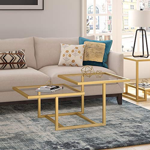 Henn&Hart Modern Chic 2-Tier Coffee Table for Living Room, 18' H x 43' L x 23' W, Golden Brass
