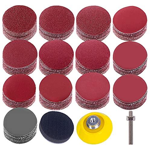 De almohadillas para discos de lijado, lijas de grano 80-3000 de 2 pulgadas, placa de respaldo uspacífica Cojines de esponja de vástago de 1/4 'para herramientas rotativas de amoladora de taladro
