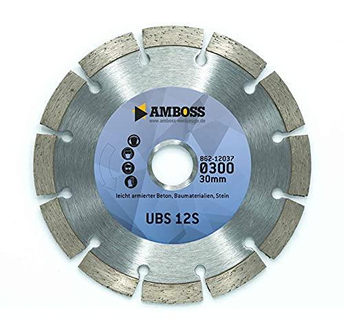 Amboss UBS 12S - Diamant-Trennscheibe Ø 300 mm x 30 mm - leicht armierter Beton/Baustellenmaterialien/Stein | Segmenthöhe: 10 mm (gesintert)