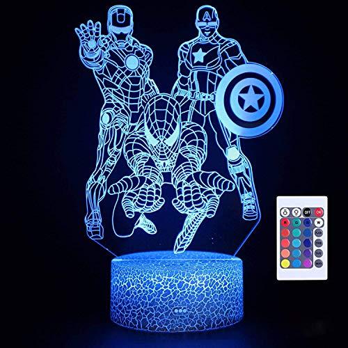Preisvergleich Produktbild HonCon Illusionslicht Des Nachtlichts 3D Avengers Iron Man 3D Nachtlichter Led 7 Farbwechsel Licht Wunder Spiderman Captain America Figur Spielzeug