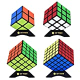 JoyTown Speed Cube Set of 4 Bundle Pack, 2x2 3x3 4x4 5x5 Puzzle Cube, Speedcubing with Bonus Four Stands and Screwdriver Black