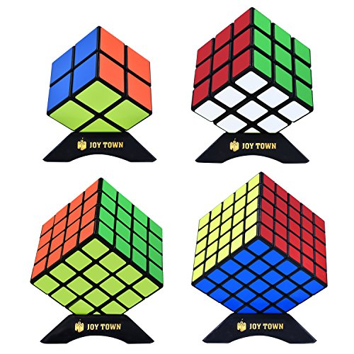 JoyTown Speed Cube Set of 4 Bundle Pack 2x2 3x3 4x4 5x5 Puzzle Cube Speedcubing with Bonus Four Stands and Screwdriver Black