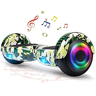 FLYING-ANT Hoverboard for Kids, 6.5 Inch Two Wheels Self Blancing Hoverboard with Bluetooth Speaker and LED Lights-Camo Green
