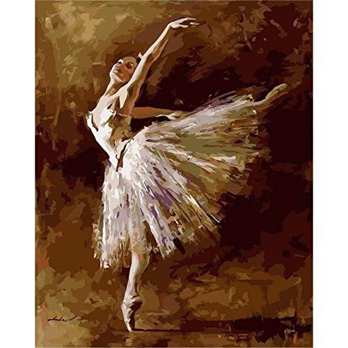 Pintura Diamante Bricolaje Fotos Ballet Girl Kits Dibujo Lienzo Pintado a mano Mosaico Pintura Bailarina Figura Decoración para el hogar A16 40 x 50cm