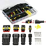 MGGi 352Pcs Car Electrical Wire Connector, Waterproof Terminals Plug Kit,1 2 3 4 Pin Way Truck Harness Electrical Wire Connector Plug Kit Terminals Assortment for Motorcycle Auto Scooter Truck Boat