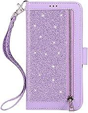 JAWSEU PU Lederen Flip Case Compatibel met Samsung Galaxy A6 2018 Glitter Paars