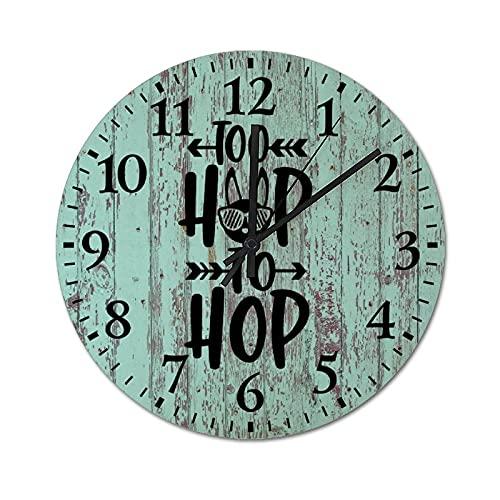 by Unbranded Reloj de pared de madera de 30,5 cm, Too Hip To Hop, Pascua, conejo, caza de huevos, decoración de madera, decoración del hogar, decoración rústica para la cocina y el hogar