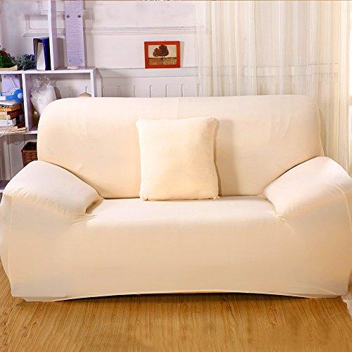 ele ELEOPTION Sofa Überwürfe Sofabezug Stretch elastische Sofahusse Sofa Abdeckung in Verschiedene Größe und Farbe (2 Sitzer für Sofalänge 130-170cm, Hell apricot)