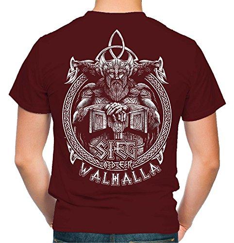 Sieg oder Walhalla Männer und Herren T-Shirt   Odin Wikinger Valhalla Geschenk   M1 FB (XXL, Bordeaux)